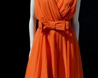 Vintage 60 orange pleated short LILI DIAMOND silk chiffon dress Mad Men Marilyn MOD sexy sM by thekaliman