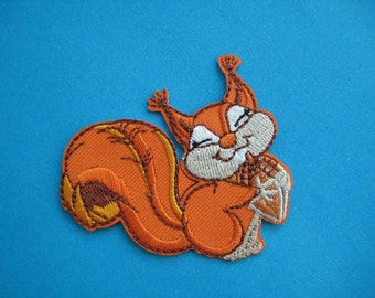 SALE~ Iron-on embroidered Patch Lovely Squirrel 2.25 inch