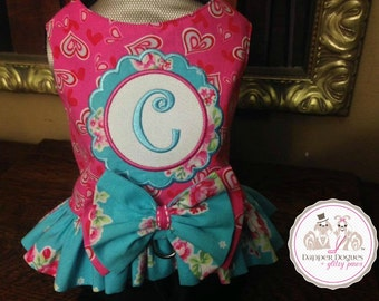 Small Dog Harness Dress-Rose Bouquet