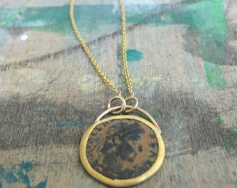 Ancient roman coin necklace , Gold Necklace ,  Antique Roman Coin Necklace ,  22k gold Necklace , one of a kind ready to ship