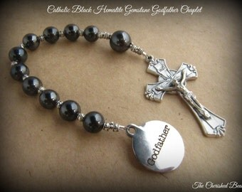 Catholic Godfather Black Hematite Gemstone Rosary Chaplet