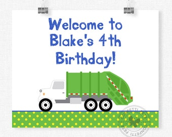 Garbage Truck Welcome Sign, Garbage Truck Birthday Sign, Garbage Truck Party Decorations, Printable 8x10 Sign