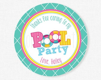 Pool Party Favor Tags, Swimming Party Tags, Girl Birthday Favors, Pool Birthday Tag, Summer Birthday Thank You Tag, Personalized