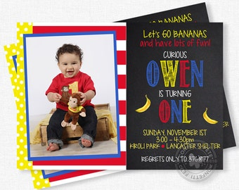 Monkey Birthday Invitation, Curious Monkey Party, First Birthday Invitation, Bananas Invitation, Chalkboard Invitation