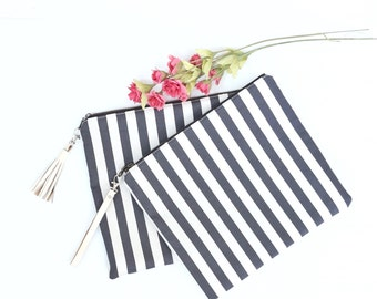 Last One - Fold Over Clutch, Ash Grey Nautical Striped Zippered Clutch, Purse, Handbag, Bridesmaid Clutch