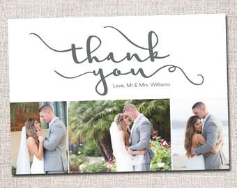 Wedding Thank You Card, Photo Thank You Card, Thank You Card, Printable Thank You Card, Modern Thank You card (Thank You 3 photo Cursive)