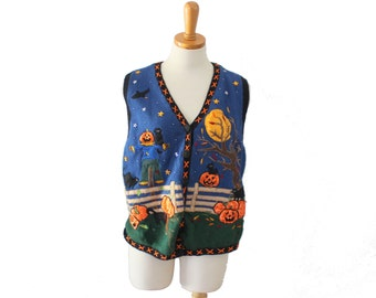 Vtg 90s Halloween Sweater Vest // Women Large // Harvest Pumpkins