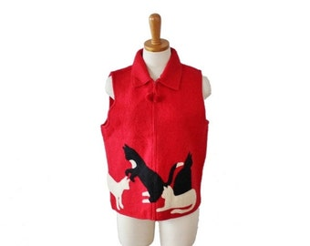 50% half off sale // Vintage 90s does 20s CATS Red Black Sweater Felted Wool Vest - Ladies Small, primitive design, folk art style