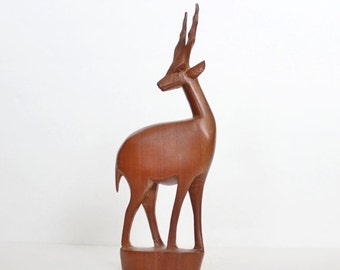 30% off sale // Vintage 60s Hand Carved Wood Gazelle - Made in Kenya, mid century design