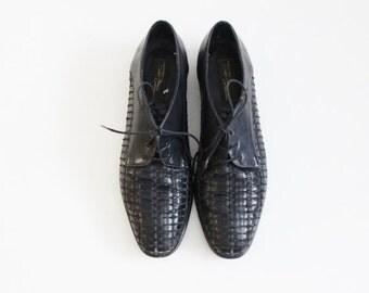 BLOWOUT 40% off sale Vintage 80s Lace Up Woven Black Oxfords - Women Size 10M - Sesto Meucci leather