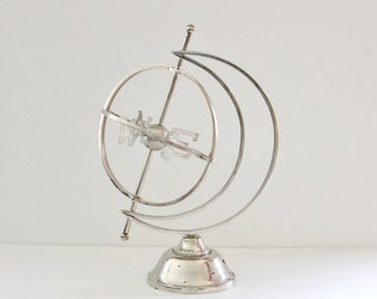 BLOWOUT 40% off sale Vintage 50s Mid Century Directional Weathervane Globe Sculpture - Silver Metal, atomic