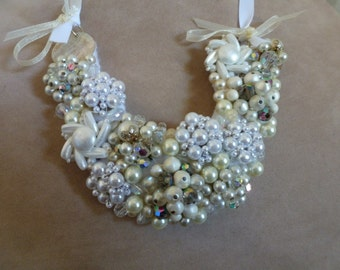 OOAK Bridal Wedding Bib Necklace Crystal and Glass Pearls