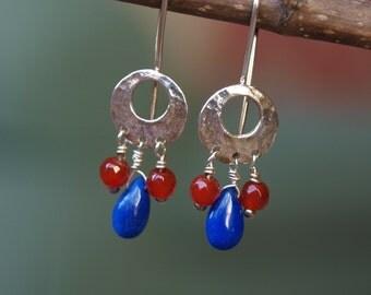 Lapis and Carnelian Earrings