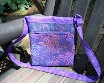 Purple Batik Zipper Purse with six pockets