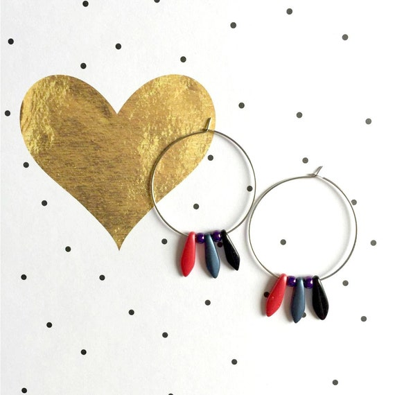 Hoop Earring, ear, circle, brass, nickel free, two sizes diameter possibilities, oval, glass bead, coral, grey, black, les perles rares