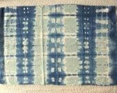INDIGO Shibori LINEN hand dyed art fabric sewing supplies home decor from MyGypsyCottage on Etsy