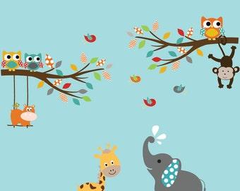 Children's Wall Decal - Baby Wall Decal - Nursery Wall Decal - Girl - Baby - Owl Branch Decal - Kids Wall Decals - Nursery Decals