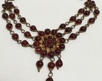Ruby Glass Tribal Festoon Bohemian Choker Red