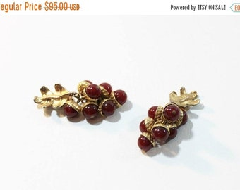 1970s Earrings Duplaise Red Glass Acorn Dangle Cha Cha Clip On Set