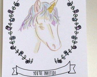 Unicorn Birthday Invitations, set of twelve, made on recycled paper, come with envelopes and seals