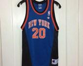 1990's Allan Houston New York Knicks number 20 NBA Basketball team Champion Jersey Tank size Youth L 14-16 #20