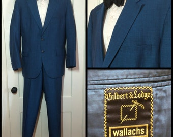 1950's Blue 2 piece Sharkskin Suit Dinner Jacket looks size Large, cuffed Trousers size 36x31 1960's