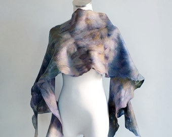 Malabrigo hand felted wool scarf super light in purple, blue, orange