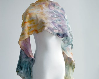 Hand felted scarf hand dyed wool and silk, super light, spring colors, purple, pink, orange