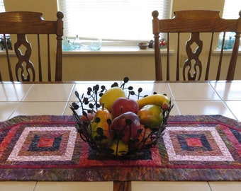 Handcrafted Quilted Batik Table Runner Red Purple Pink browns