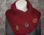 Red Harbor Scarf, button cowl wrap, neck warmer, crochet scarf, chunky soft and warm, ready to ship