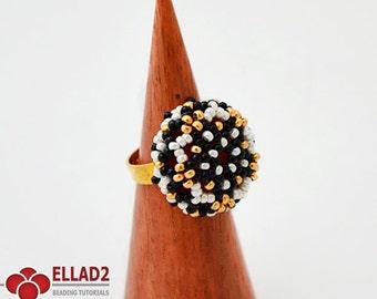 Tutorial Mia Ring - Beading Tutorial, Ring patterns, Ellad2, Instant download