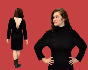 Backless cocktail dress 90s grunge punk little black mini dress hipster indie vintage 1960s goth fun