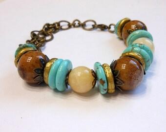 Turquoise Bracelet, Yellow Jade and Porcelain Bracelet,Chunky Bracelet,Natural Stone