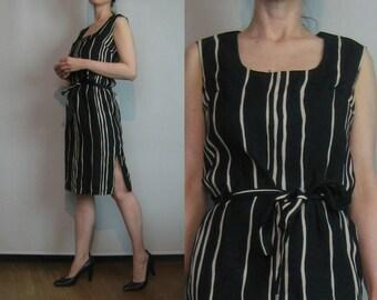 50s 60s STRIPED COTTON BARKCLOTH vtg Black Ecru Tan Khaki Belted Belt Scoop Neck Sleeveless Shift Wiggle Mini Dress Small Medium 1950s 1960s