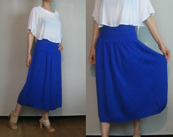 80s WOOL KNIT PLEATED vtg Sweater Knitted Blue Pure Wool Cobalt Fine Ribbed Midi Skirt xs Small Medium 1980s