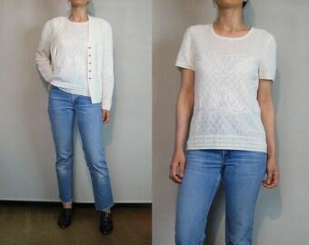 80s Ivory ESCADA Pointelle Knit Twin Set Vintage Escada Margaretha Ley 2 Piece Top + Cardigan Harlequin Pointelle Sequins Crewel Sweater