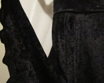 """Ladies Modest  Rich BLACK Crushed Panne Velour Stretch Knit Jersey Maxi Skirt for Missionary, Travel or Leisure, size S/M, 36"""" long"""