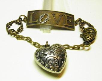Heart Bracelet, Love Bracelet, Mixed Metals Copper, Bronze, Silver, and Pewter Heart Charm Bracelet, Steampunk Bracelet Valentine's Day OOAK
