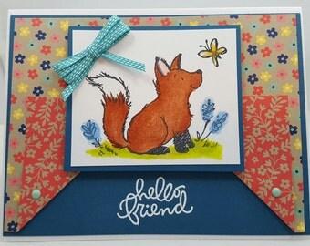 Foxy Summertime Blank NoteCard, Greetings Card, Handmade Card