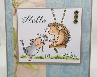 Hedgehog Hello Summertime Blank NoteCard, Greetings Card, Handmade Card, Birthday, Stamped