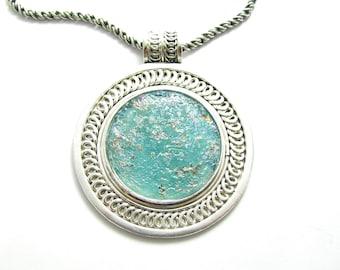 925 Sterling Silver Roman Glass 925 Silver Filigree Green Pendant Necklace