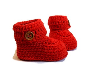Red Crochet Baby Booties Merino Wool Newborn Crib Shoes Baby Slippers Knitted Baby Booties Gender Neutral Baby Gift by Warm and Woolly Etsy