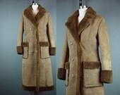 Sheepskin Coat Vintage Dark Brown Vintage 80s 1980s Long Winter Boho Shearling XS S M Small Medium