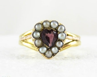 Georgian Garnet Heart Ring with Seed Pearls in 18 Carat Yellow Gold. Antique 1800s Love Heart Shape Ring, Dated 1809.
