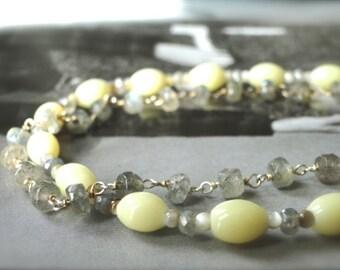 Jewelry / Bracelet / Vintage Glass / Moonstone / Sterling Silver / 14k Gold / Accessories / Friendship Bracelets / Luxe Jewelry