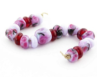 Sheribeads Glass Beads 20 Twilight Pink Cones, Spacers, Twist Spacers, Olive Lampwork