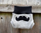 Upcycled Merino Wool Soaker Cover Diaper Cover With Added Doubler Gray / Black With Mustache Applique NEWBORN 0-3M Kidsgogreen