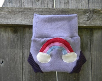 Upcycled Merino Wool Soaker Cover Diaper Cover With Added Doubler Lavender/ Purple With Rainbow  Applique NEWBORN 0-3M Kidsgogreen