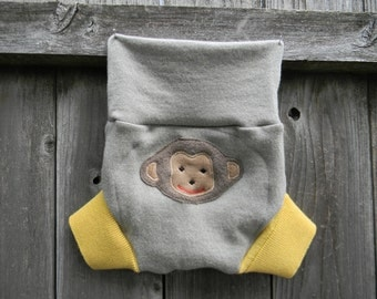 Upcycled  Merino Wool Soaker Cover Diaper Cover With Added Doubler Gray/ Yellow With Monkey Applique  LARGE 12-24M Kidsgogreen