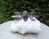 The High Priestess -- Triple Moon Ritual Circlet // Diadem // Tiara -- with Genuine Amethyst & moonstone gemstones